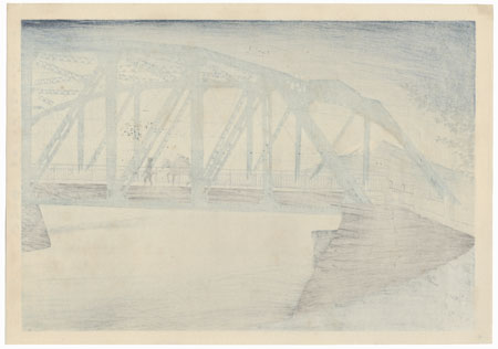 Moonlight at Fujikawa Bridge by Tokuriki (1902 - 1999)