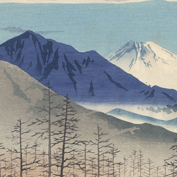 Distant View of Fuji from Shinshu Kiyosato Station by Tokuriki (1902 - 1999)