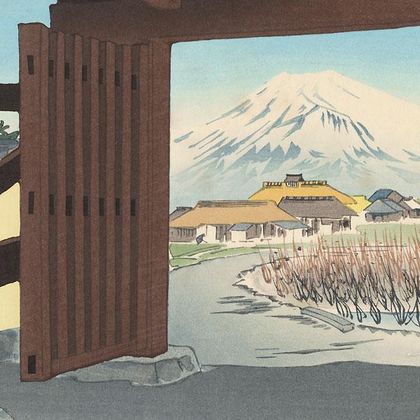Fuji in Front of the Egawa House by Tokuriki (1902 - 1999)