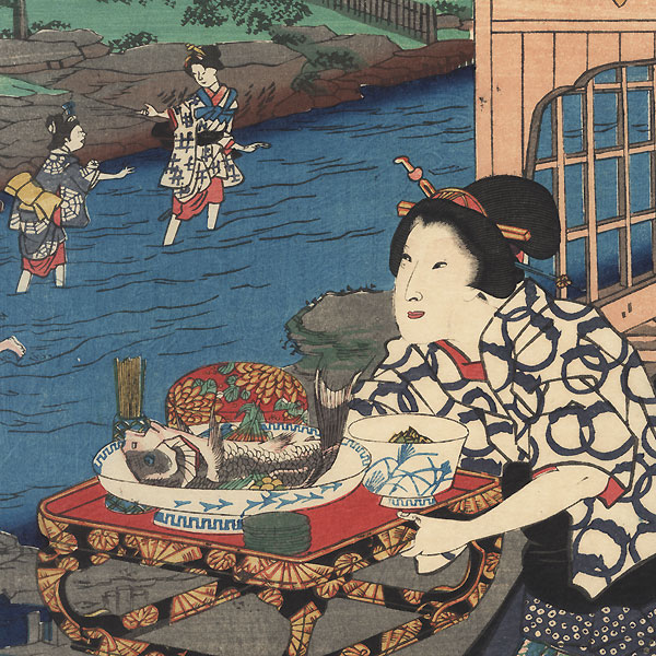 Summer: Enjoying the Cool of Evening at the Otonashi River in Oji, 1861 by Toyokuni III/Kunisada (1786 - 1864) and Hiroshige II (1826 - 1869)