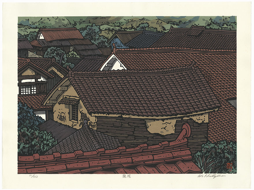 Village Rooftops by Nishijima (born 1945)
