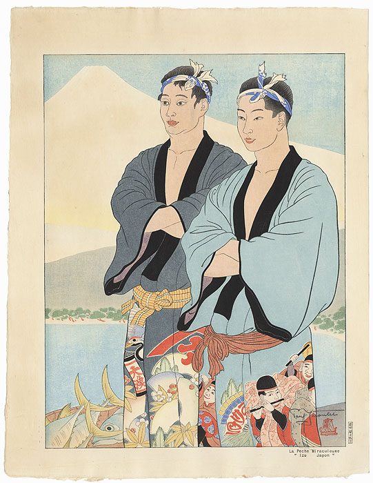 La Peche Miraculeuse, Izu, Japon, 1939 by Paul Jacoulet (1896 - 1960)