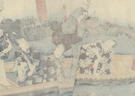 Feeding Fish from a Boat, 1858 by Toyokuni III/Kunisada (1786 - 1864)