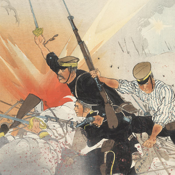 By Destroying the Enemy Wire Entanglements [Japanese Forces] Capture the Enemy Fortress at Nanshan, 1904 by Ogata Gessan (1887 - 1967)