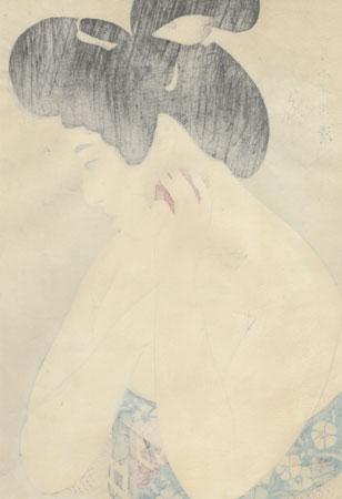 Applying Makeup, No. 2, 1930 by Kobayakawa Kiyoshi (1897 - 1948)