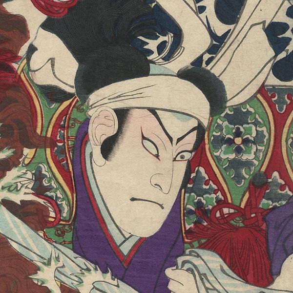 Flood: Nakamura Shikan III as Abe Bungo-no-kami, 1876 by Yoshitoshi (1839 - 1892)