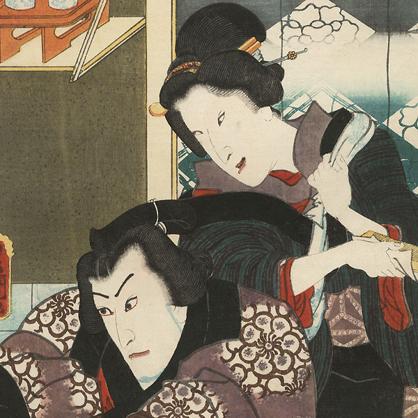 The Syllable Ya for the Sumo Announcement Drum (Yagura Daiko): Ichikawa Danjuro VIII as Inagawa and Bando Shuka I as Inagawa's Wife by Toyokuni III/Kunisada (1786 - 1864)