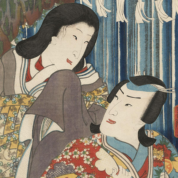 The Syllable Ku for Kumo no Taema: Nakamura Fukusuke I as Kumo no Taema and Bando Shuka I as the Female Narukami by Toyokuni III/Kunisada (1786 - 1864)