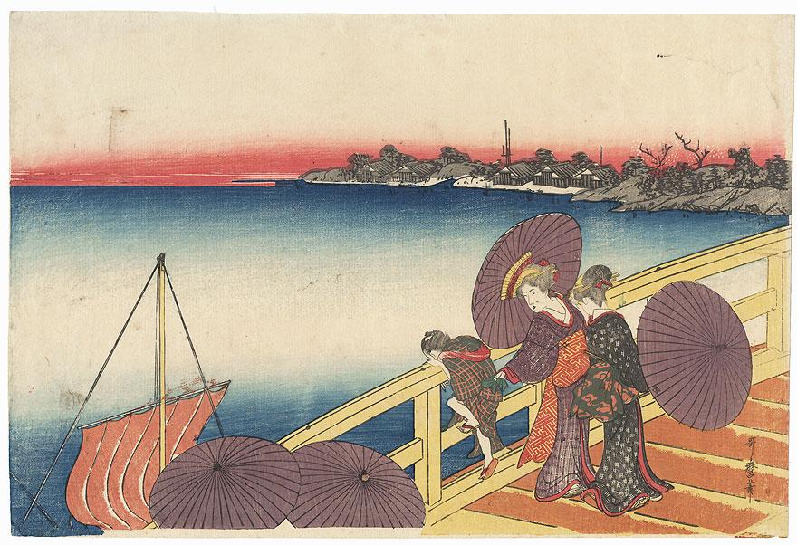 Beauties on a Bridge by Utamaro (1750 - 1806)