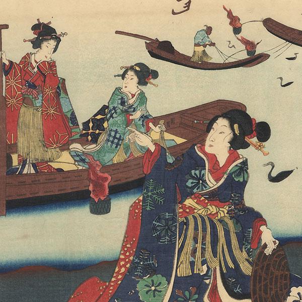 Genji and Beauties Watching Cormorant Fishermen by Kunisada II (1823 - 1880)