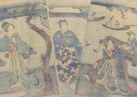 Genji and Beauties Watching Cormorant Fishermen by Kunisada II (1823 - 1880)