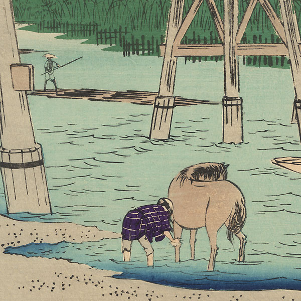 Yahagi Bridge on the Yahagi River near Okazaki by Hiroshige (1797 - 1858)