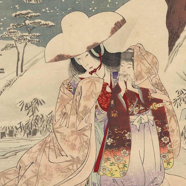 Tokiwa Gozen Fleeing, 1890  by Nobukazu (1874 - 1944)