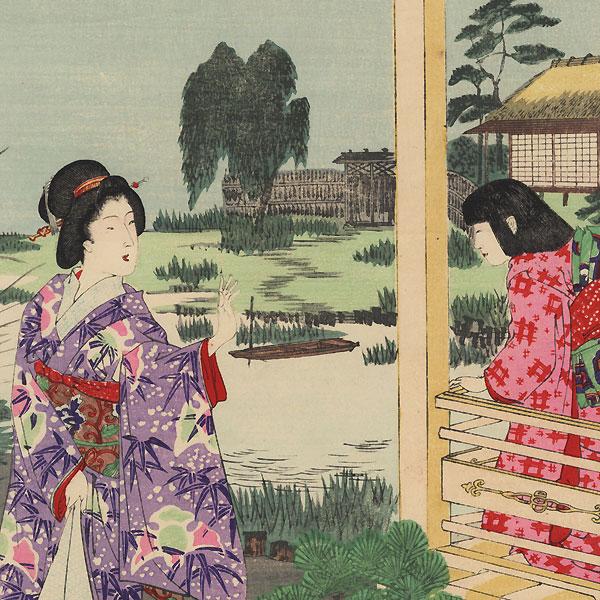Moon at a Vacation House, 1891 by Chikanobu (1838 - 1912)