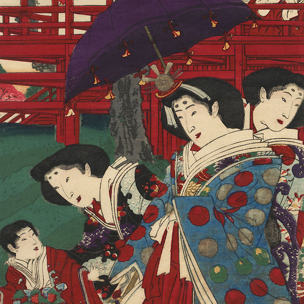 Meiji Emperor and Empress Viewing Cherry Blossoms at Ueno Park by Chikayoshi (active circa 1867 - 1890)