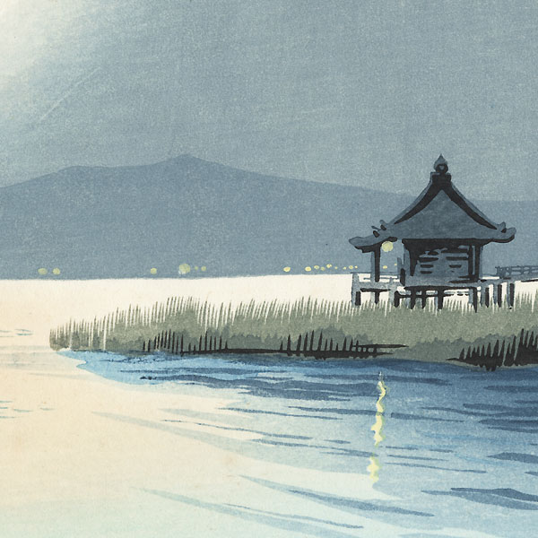 Lake Biwa, Ukimido Temple at Katada by Tokuriki (1902 - 1999)