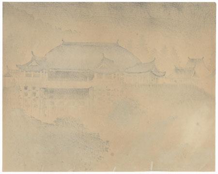Kiyomizu Temple in Summer Rain by Tokuriki (1902 - 1999)