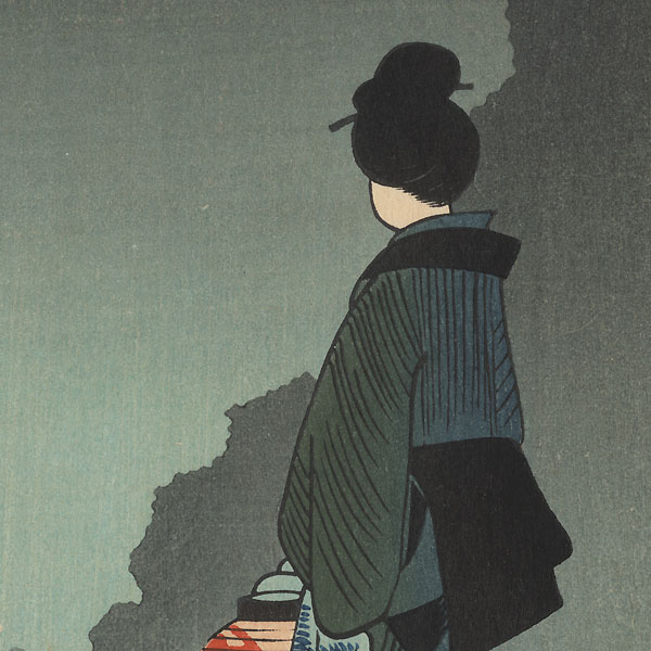 Lady with a Lantern by Hiroshige (1797 - 1858)