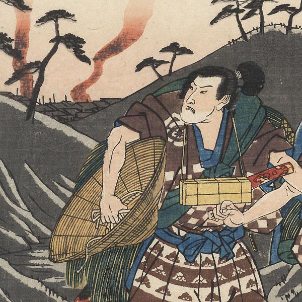 Onio and Dozaburo, Soga Brothers' Vassals by Hiroshige (1797 - 1858)