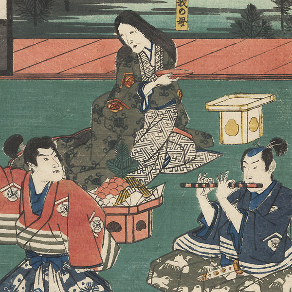 Soga Juro Sukenari and Soga Goro Tokimune with Their Mother by Hiroshige (1797 - 1858)