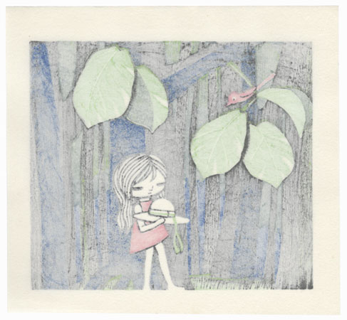 Girl Walking through the Woods by Shuzo Ikeda (1922 - 2004)