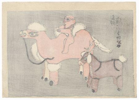 Deer and Monkey Riding a Camel Toys by Shin-hanga & Modern artist (not read)