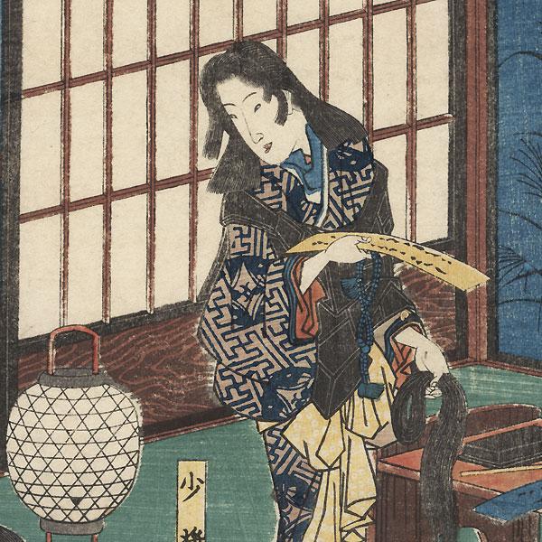 Kewaizaka no Shosho Cuts Her Hair to Become a Nun by Hiroshige (1797 - 1858)