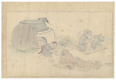Demon Getting a Tattoo and Demon Child with a Kitten by Sakai Baisai (1828 - ?)