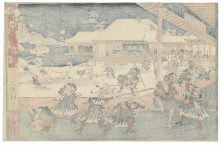 The 47 Ronin, Act 11: The Night Attack on Moronao's Mansion by Toyokuni III/Kunisada (1786 - 1864)
