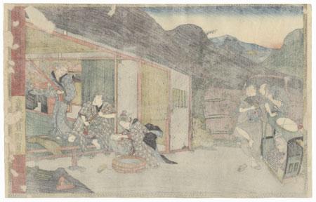 The 47 Ronin, Act 6: The Departure of Okaru and Kampei's Suicide by Toyokuni III/Kunisada (1786 - 1864)