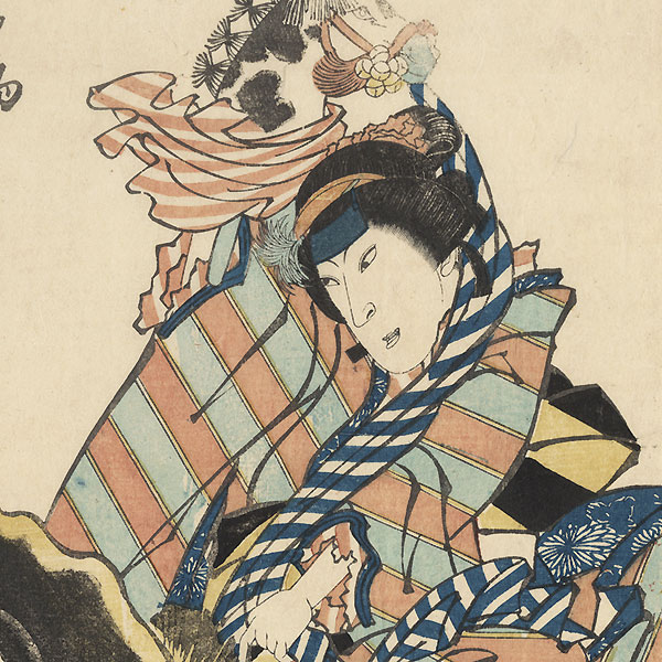 Nakamura Tomijuro in the Spring Horse Dance and Nakamura Shikan in Catfish and Gourd, 1834 by Hokuei (active circa 1827 - 1836)