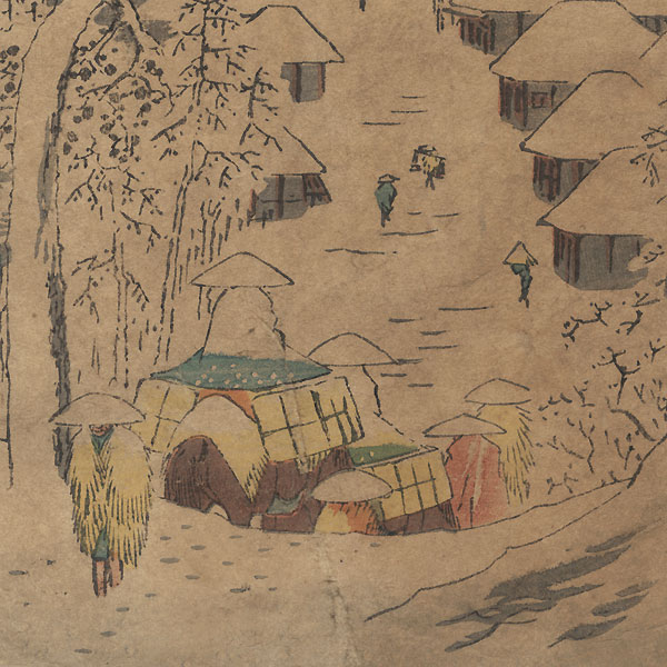 Snow at Yamanaka Village (formerly known as Mt. Miyaji) near Fujikawa by Hiroshige (1797 - 1858)
