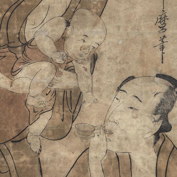 Couple and Baby by Utamaro (1750 - 1806)