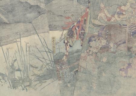 The Death of the Principal Followers of Takechi Mitsuhide at the Great Battle of Yamazaki, 1865 by Yoshitoshi (1839 - 1892)