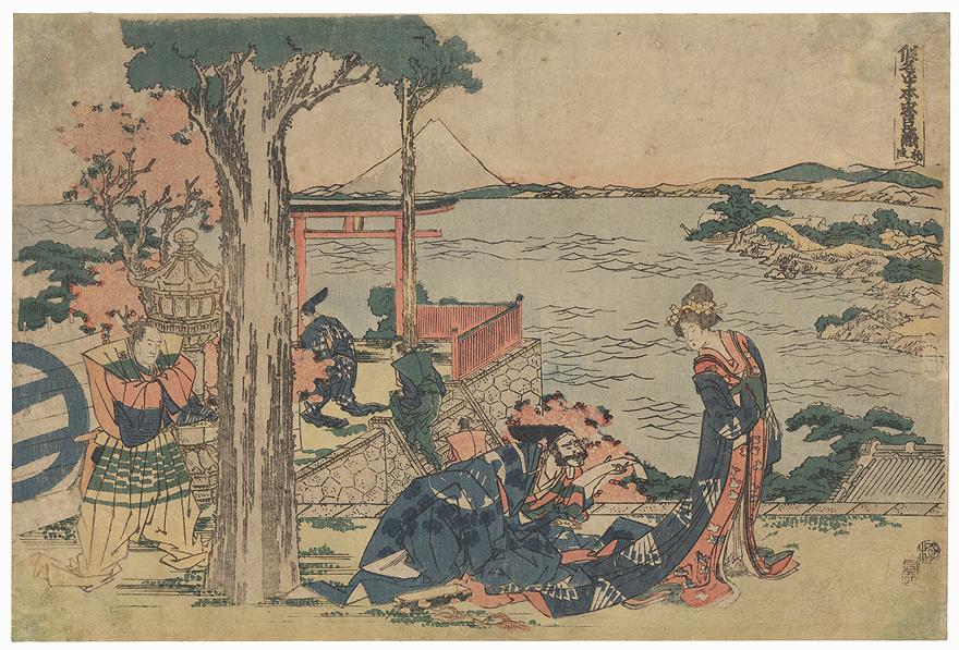 47 Ronin, Act 1: Tsurugaoka Hachiman Shrine: The Helmet Inspection, 1806 by Hokusai (1760 - 1849)