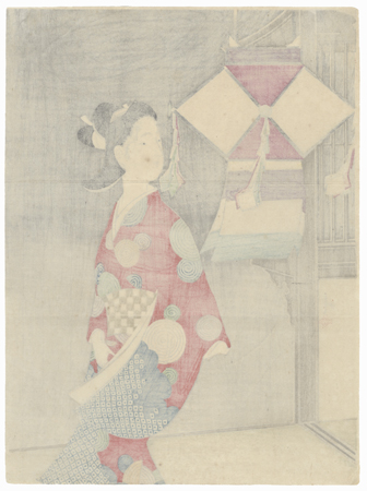 Lantern Kuchi-e Print, 1910 by Toshimine (1863 - 1934)