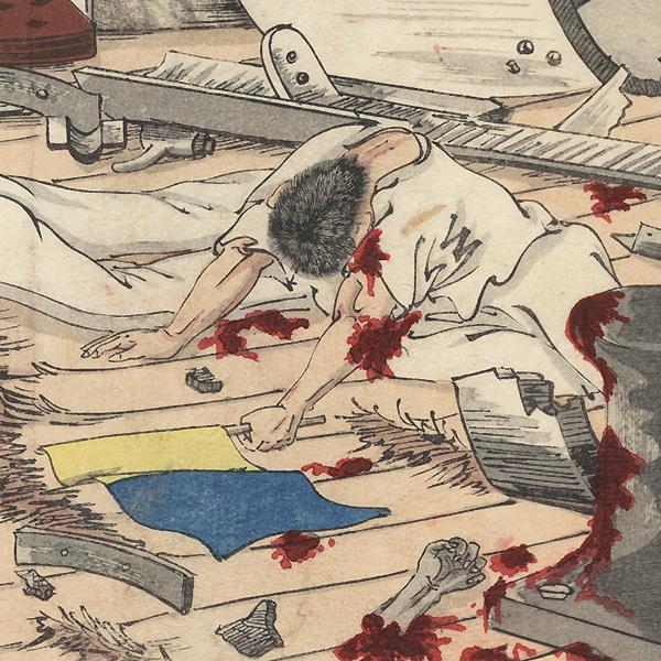 Devastation aboard the Matsushima by Meiji era artist (unsigned)