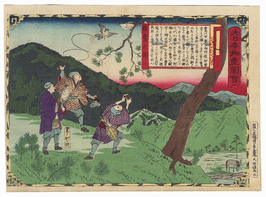 Falconry, Figure 2, Iyo Province by Hiroshige III (1843 - 1894)