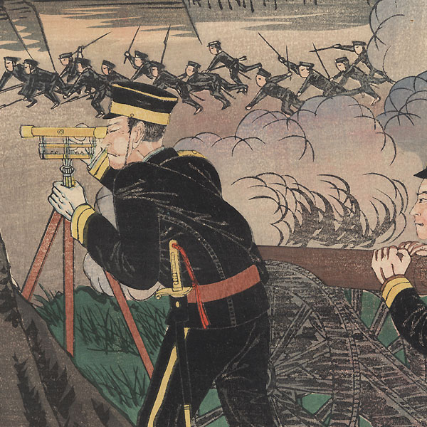 Victory After Victory, the Japanese Spirit Becomes Famous All Over the World: Our Armed Forces Defeating the Chinese at Fenghuangcheng, 1894 by Kuniteru III (active circa 1880 - 1900)