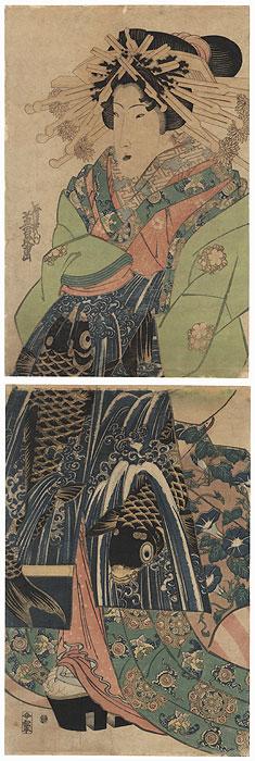 Courtesan in a Leaping Carp Obi Kakemono by Eisen (1790 - 1848)