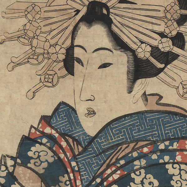 Courtesan with a Butterfly Kimono Kakemono by Eizan (1787 - 1867)