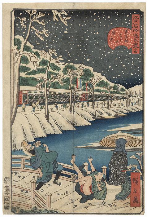 No. 14, Akabane Bridge at Shiba in Snow, 1859 by Hirokage (active circa 1855 - 1865)