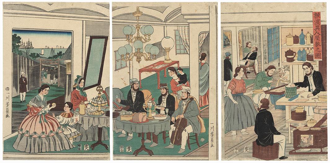 Foreigners' Residence, Yokohama, 1861 by Yoshikazu (active circa 1850 - 1870)