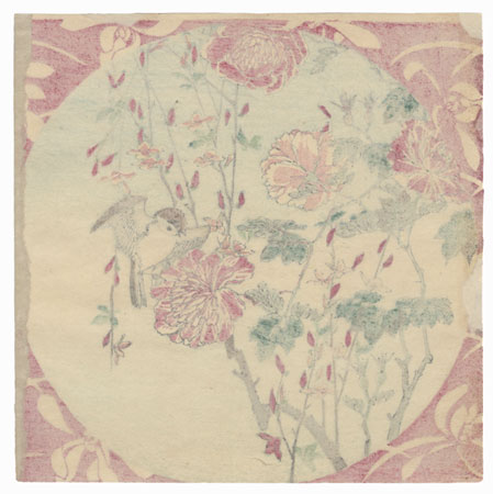 Sparrow and Blossoms by Meiji era artist (unsigned)