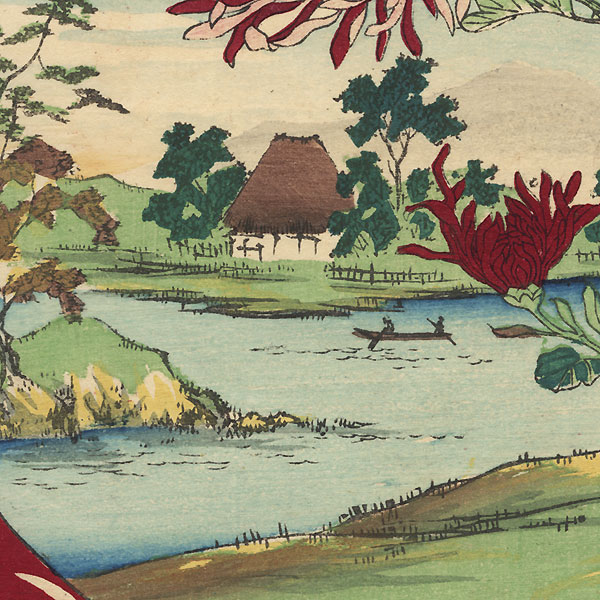 Butterfly, Chrysanthemums, and River View by Meiji era artist (unsigned)