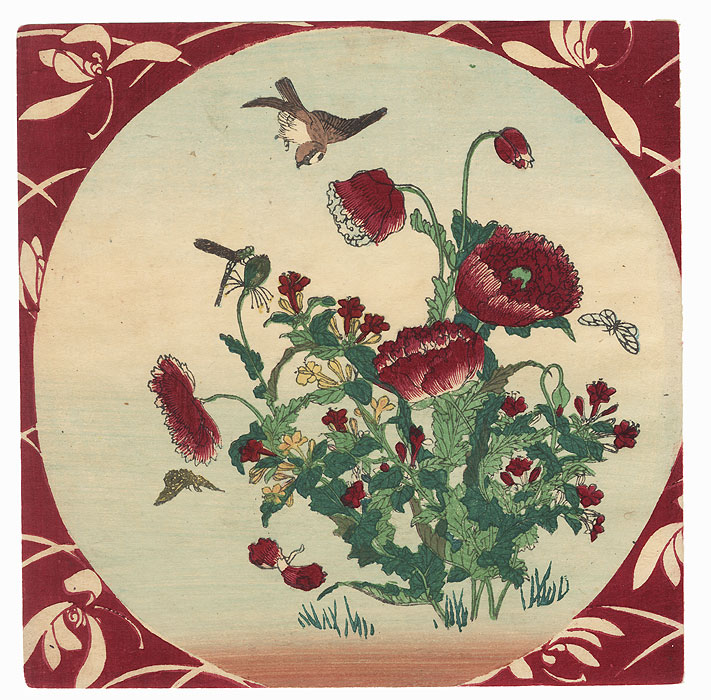 Sparrow, Butterflies, Dragonfly, and Poppies by Meiji era artist (unsigned)