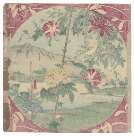 Yellow Bird, Morning Glories, and Water View by Meiji era artist (unsigned)