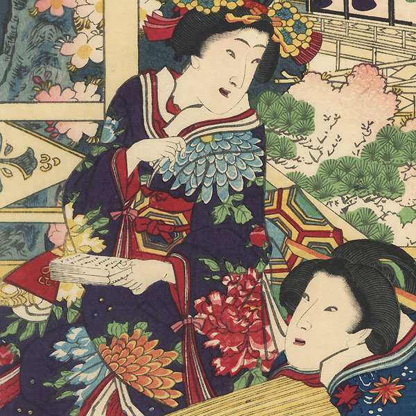 Preparing to Play Music, 1869 by Kunichika (1835 - 1900)