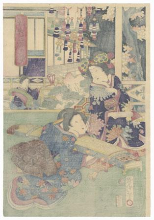 Preparing to Play Music, 1869 by Kunichika (1835 - 1900)