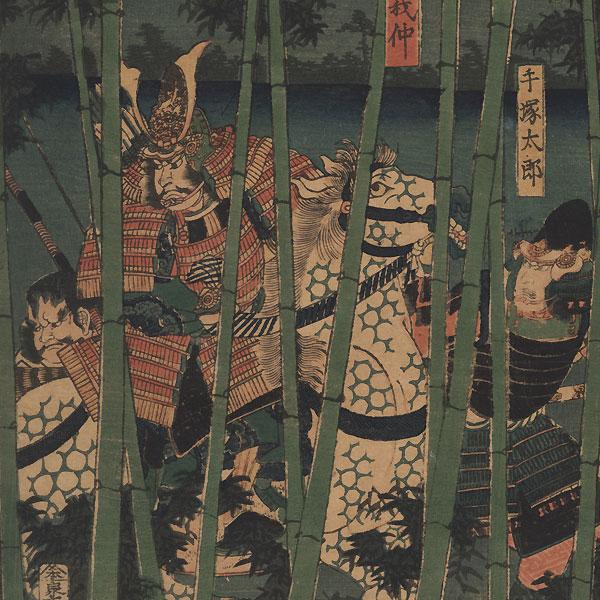The Last Stand of Kiso Yoshinaka at Awazu, 1856 by Yoshikazu (active circa 1850 - 1870)
